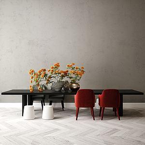 現代桌椅模型3d模型
