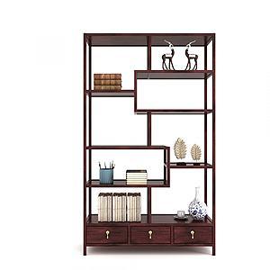 現代中式博古架飾品3d模型