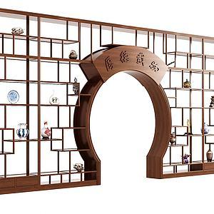 現代中式月亮門博古架3d模型
