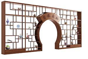 現代中式月亮門博古架模型3d模型