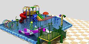 水上樂園,滑梯模型3d模型