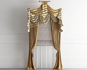 歐式法式窗簾羅馬簾模型3d模型