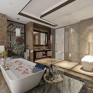 衛生淋浴間3d模型