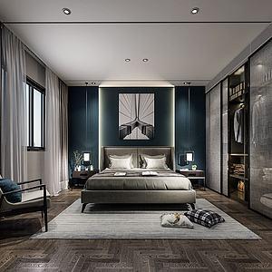 現代風格臥室3d模型