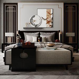 家具飾品床組合模型3d模型