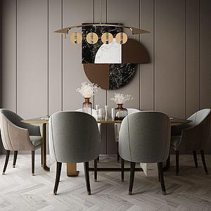 家具飾品組合餐廳模型3d模型