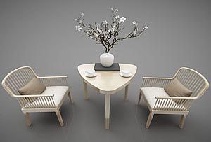 現代木質休閑椅模型3d模型