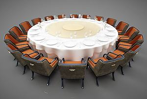 圓形餐桌模型3d模型