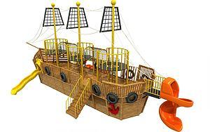 木質海盜船模型3d模型
