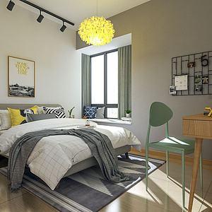 北歐臥室3d模型