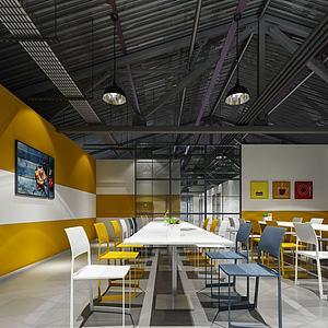 現代簡約餐飲店3d模型
