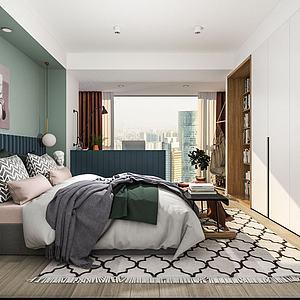 現代簡約臥室3d模型