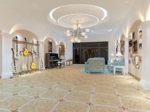 歐式風格的客廳模型3d模型