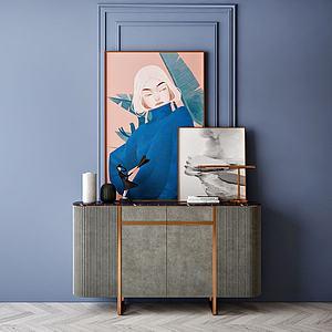 家具飾品組合裝飾柜模型3d模型