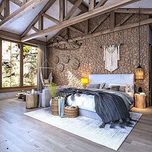 自然風民宿客房3d模型