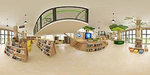 新現代風格圖書館模型3d模型