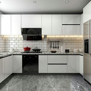 簡約廚房3d模型