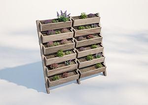 現代戶外植物盆栽架模型3d模型