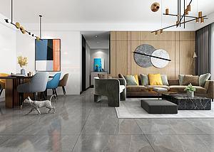 現代客廳餐廳模型3d模型