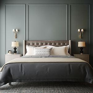 臥室雙人床模型3d模型