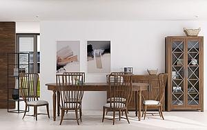 美式餐廳餐桌椅餐邊柜模型3d模型