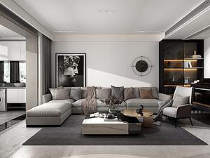 現代客廳沙發茶幾模型3d模型