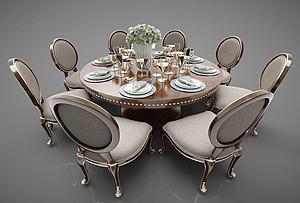 現代餐桌椅模型3d模型