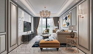 簡美式輕奢風格客廳模型3d模型