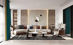 現代輕奢風格客廳模型3d模型