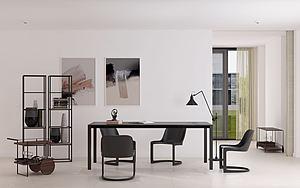 現代餐廳餐桌餐椅裝飾架模型3d模型