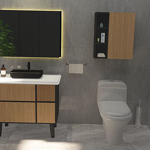 北歐現代簡約實木浴室柜模型