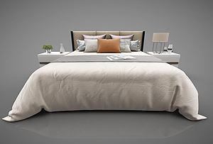 現代床模型3d模型