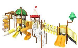 戶外大型滑梯兒童游樂設施模型3d模型