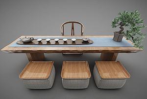 現代風格茶桌椅模型3d模型