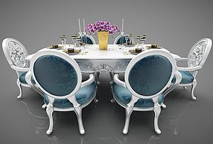 歐式風格餐桌椅模型3d模型