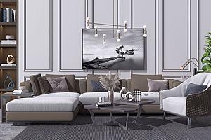 現代沙發茶幾模型3d模型