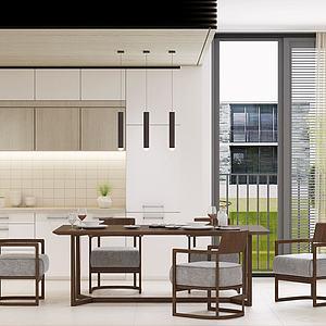 現代中式餐廳餐桌餐3d模型