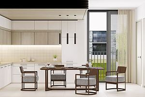 現代中式餐廳餐桌餐模型3d模型