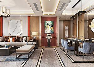 新中式輕奢風格客廳模型3d模型