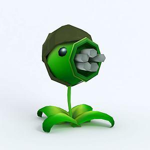 C4DGatlingPea機槍豌豆模型