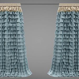 現代窗簾3d模型