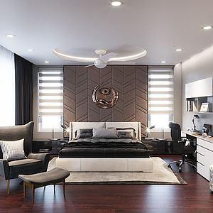 豪華現代臥室3d模型