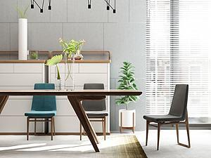 餐廳桌椅模型3d模型