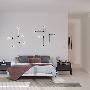 現代臥室雙人床3d模型
