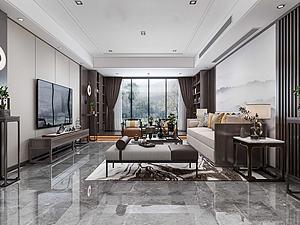 新中式風格客廳模型3d模型