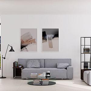 現代客廳沙發茶幾休閑椅3d模型