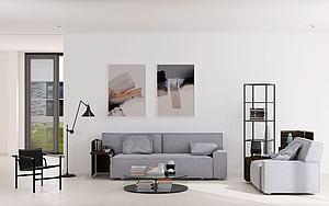 現代客廳沙發茶幾休閑椅模型3d模型