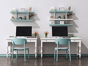 歐式書桌椅模型3d模型