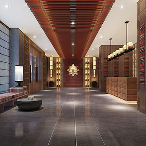 新中式大廳3d模型