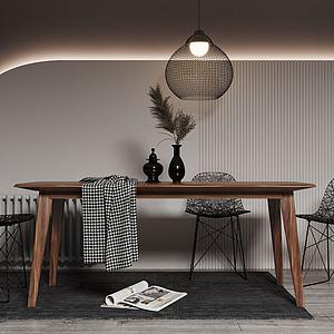 北歐簡易餐桌椅3d模型